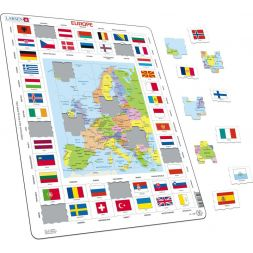 """Dėlionė """"Europos žemėlapis ir vėliavos"""