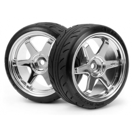 MOUNTED SUPER DRIFT TIRE (A TYPE) ON TE37 WHEEL CHROME