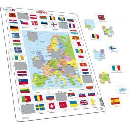 """Dėlionė """"Europos žemėlapis ir vėliavos"""""""