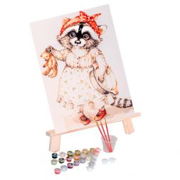 Paint by Numbers (20x30): Raccoon and Teddy Bear - Zamarashka