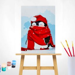 Paint by Numbers (20x30): Red Scarf Penguin