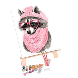 Paint by Numbers (30x40): Raccoon with Glasses