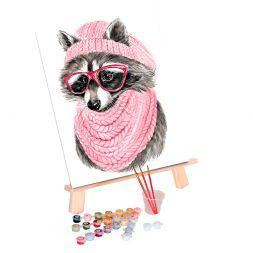 Tapypos rinkinys (30x40): Raccoon with Glasses