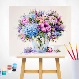 Tapybos rinkinys (40x50): Summer Bouquet with Blue Hydrangea