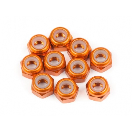 ALUMINUM THIN LOCK NUT M3 (ORANGE/10pcs)